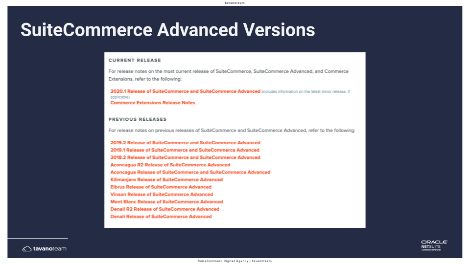 list-of-suitecommerce-advanced-versions