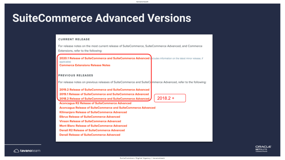 List of SuiteCommerce Advanced versions