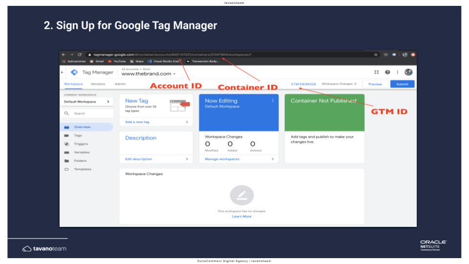 Step 2 Sign up for Google Tag Manager - SuiteCommerce Tavano Team