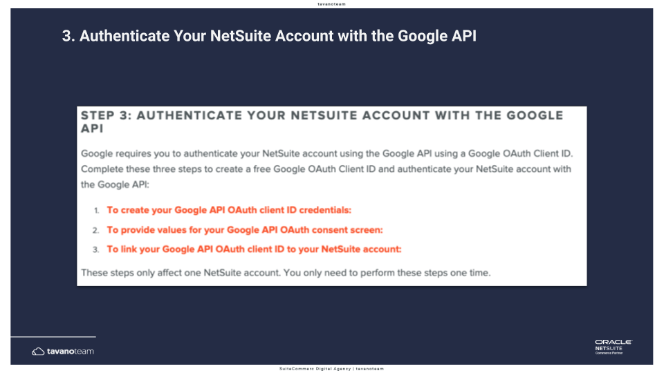 Step 3 Authenticate your NetSuite account with the Google API -- SuiteCommerce Tavano Team