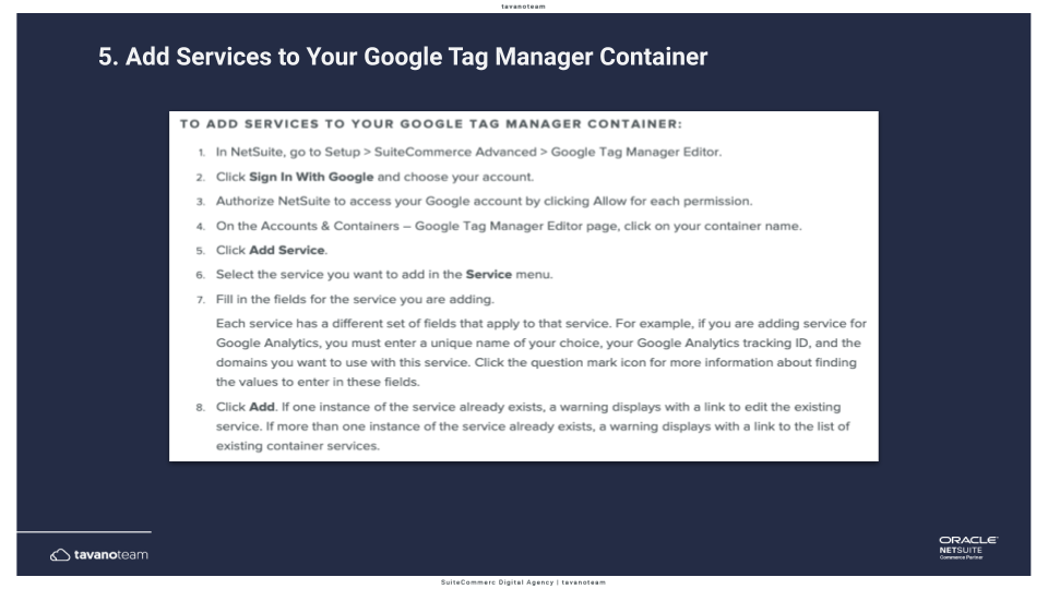 Step 5a Add the services to your Google Tag Manager container
