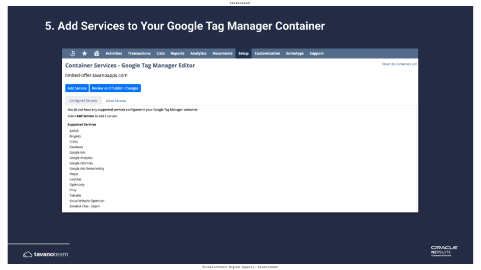 Step 5b Add the services to your Google Tag Manager container